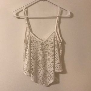 White geometric cutout crop top